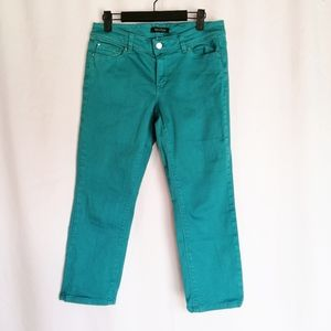 WHBM Teal Blanc Slim Crop Jeans